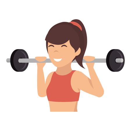 重量を持ち上げる運動女性ベクトル イラスト デザイン  イラスト・ベクター素材
