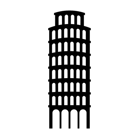 european culture: the leaning tower of pisa landmark vector illustration graphic design Illustration
