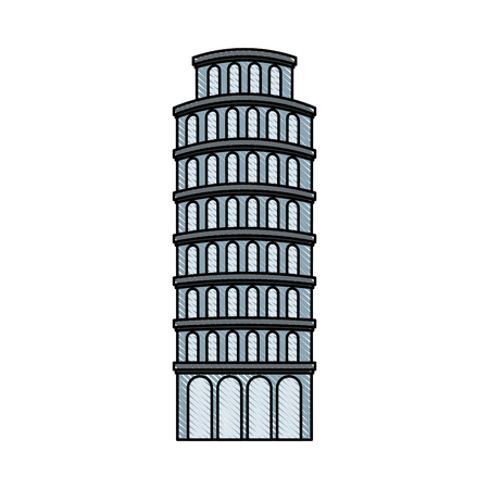 the leaning tower of pisa landmark vector illustration graphic design Illustration
