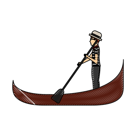 carton gondolier rowing a gondola vector illustration graphic design Illustration
