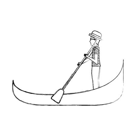carton gondolier rowing a gondola vector illustration graphic design Illustration