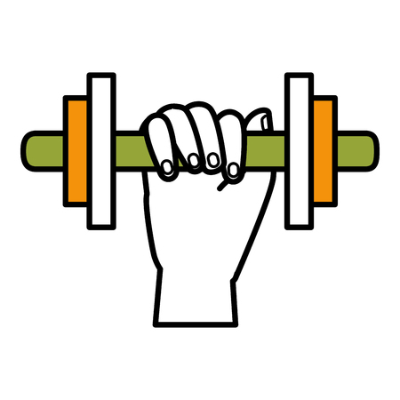 hand human with weight lifting equipment icon vector illustration design