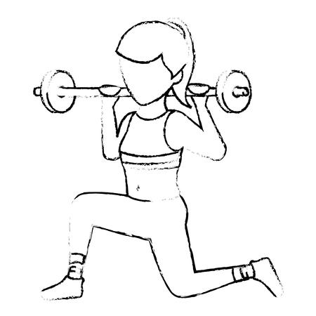 Athletic woman lifting weights vector illustration design