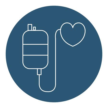 Sangre de bolsa con diseño de ilustración de vector de icono de donación de corazón Foto de archivo - 78443298