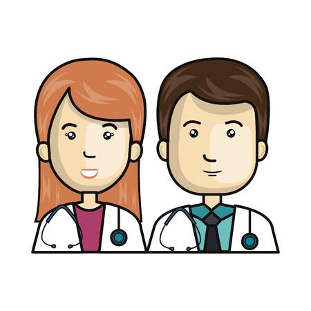 couple doctors avatars characters vector illustration design Illustration