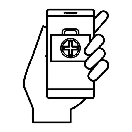 smartphone with medical app vector illustration design