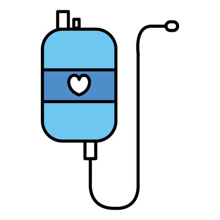 salvavidas: bag blood with heart donation icon vector illustration design