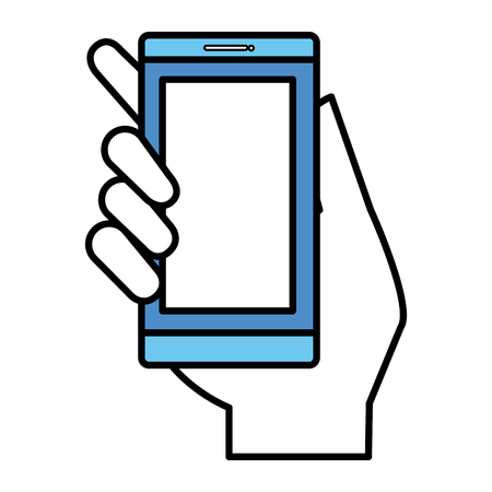 hand human with smartphone device isolated icon vector illustration design