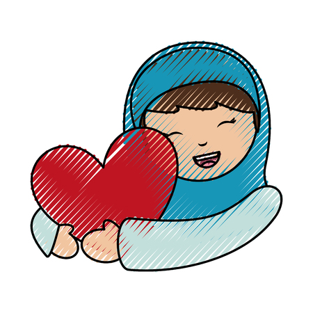 holy mary virgin with heart character vector illustration design