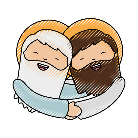 holy jesuschrist with god character icon vector illustration design