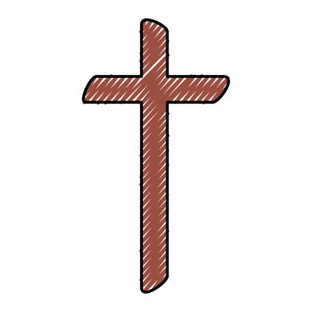 religieuze kruis houten pictogram vector illustratie ontwerp Stock Illustratie