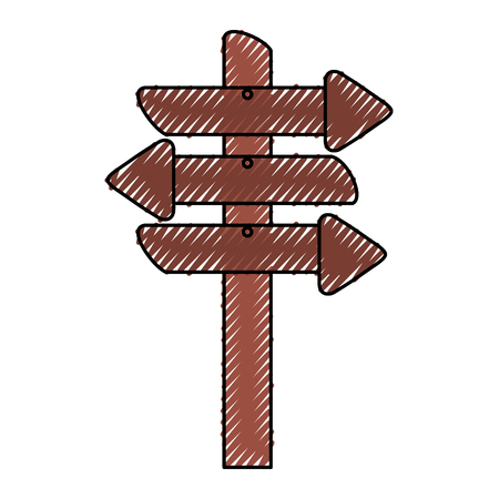 wooden signal with arrows vector illustration design
