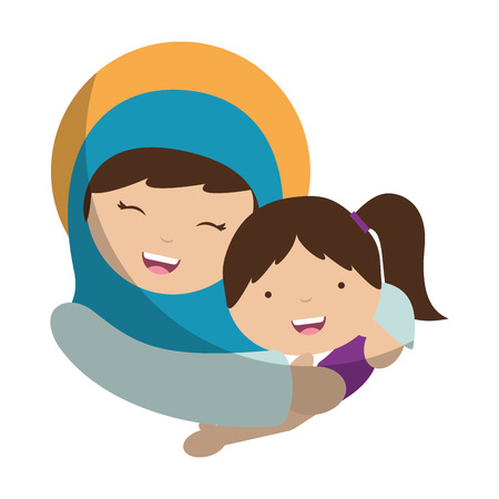 holy mary virgin with girl character vector illustration design
