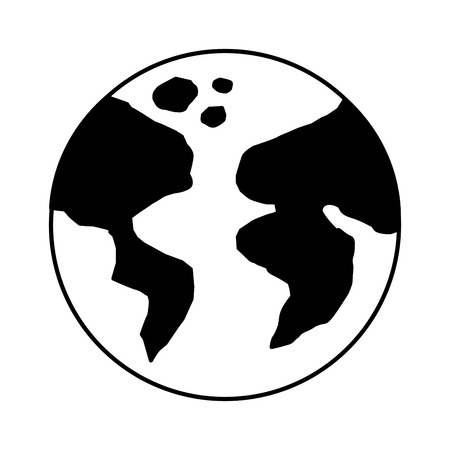 world earth planet icon over white background colorful vector illustration