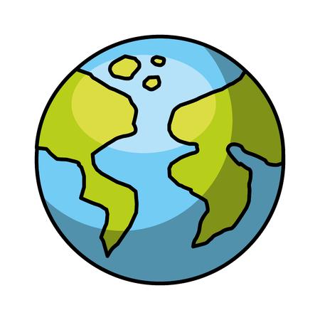 白地カラフルなベクトル イラスト上の世界地球惑星アイコン