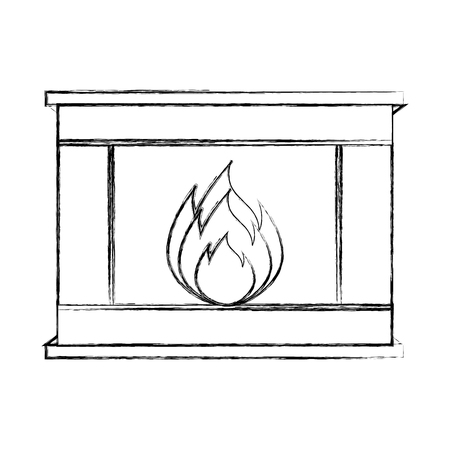 living room design: christmas fireplace icon vector illustration graphic design