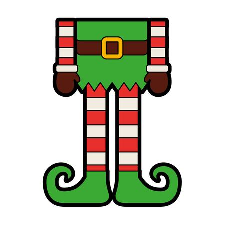 christmas cartoon elfs legs vector illustration graphic design