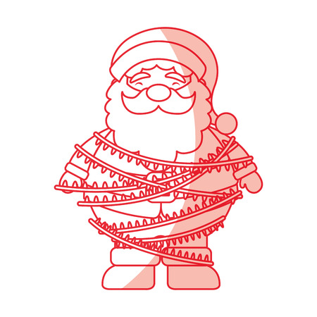 santa claus surrounded by glowing christmas lights icon vector illustration graphic design