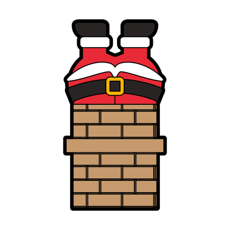 santa claus stuck in the chimney vector illustration graphic design Ilustracja