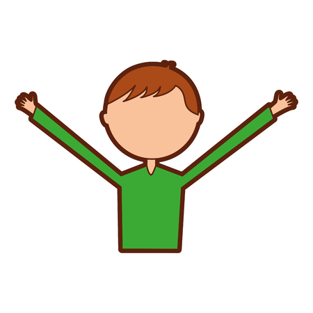 young man with hands up avatar character vector illustration design