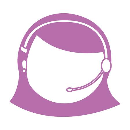 call center female agent vector illustration design