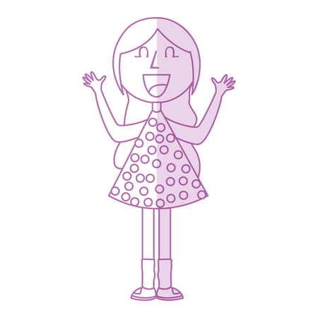 young girl with hands up avatar character vector illustration design