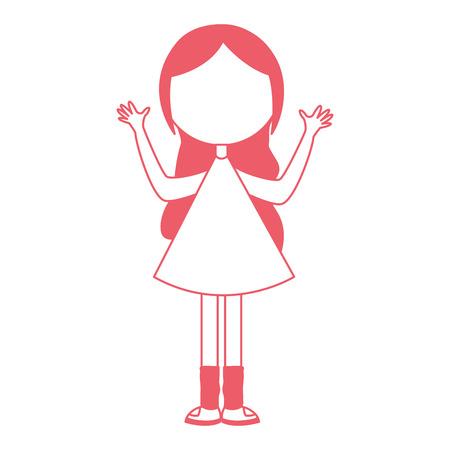 アバターの文字ベクトル イラスト デザインを手で若い女の子