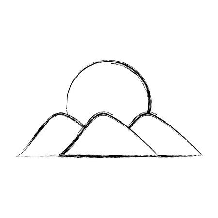 Montaña con el sol dibujo ilustración vectorial diseño Foto de archivo - 78517453