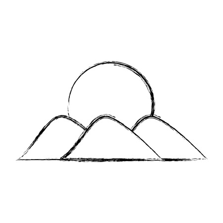 mountain with sun drawing vector illustration design Imagens - 78517453
