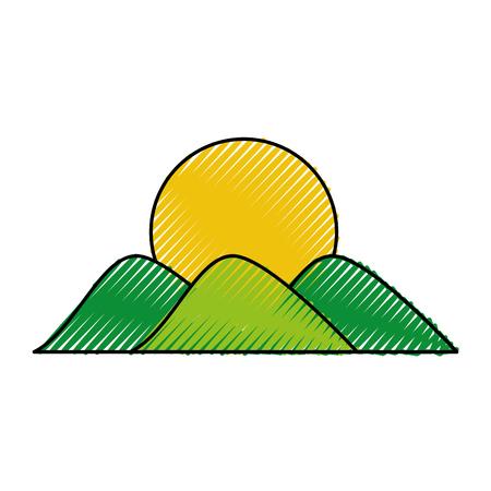 Berg met zon tekening vector illustratie ontwerp Stock Illustratie