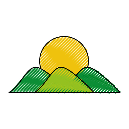 mountain with sun drawing vector illustration design