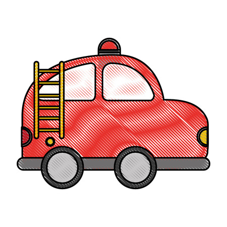 firefighter car drawing icon vector illustration design