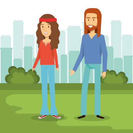 Hippie couple standing on green grass with daytime city skyline. Vector illustration.