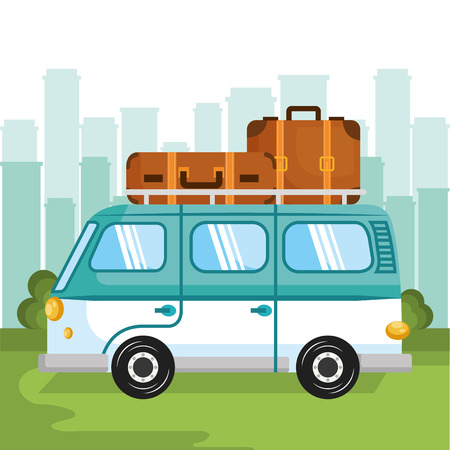 Minivan with suitcases over green and blue background with city skyline. Vector illustration.