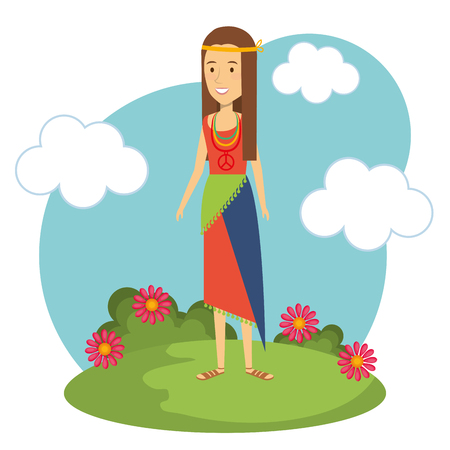Hippie woman with flowers and blue sky over white background. Vector illustration. Illustration