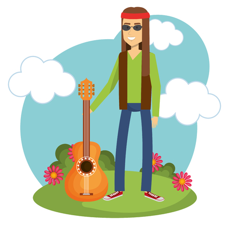 Hippie man with flowers and blue sky over white background. Vector illustration.