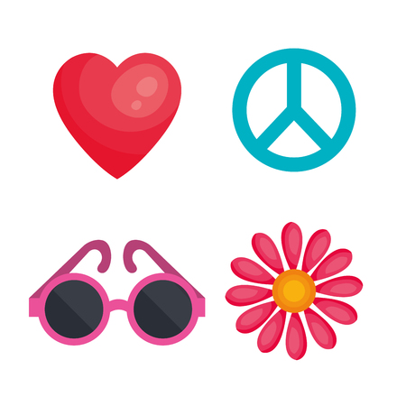 Hippie related objects over white background. Vector illustration.