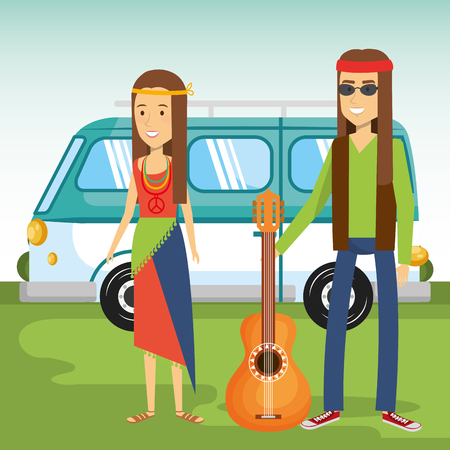 Hippie people, guitar and minivan over green and bue background. Vector illustration.