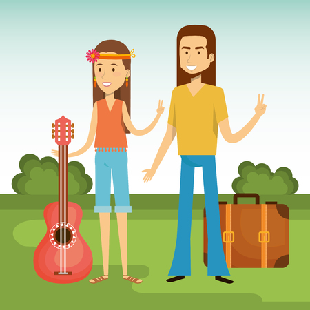 Hippie couple with guitar and suitcase over blue and green background. Vector illustration. Illustration