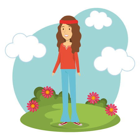 headband: Hippie brunette woman with flowers and blue sky over white background. Vector illustration. Illustration