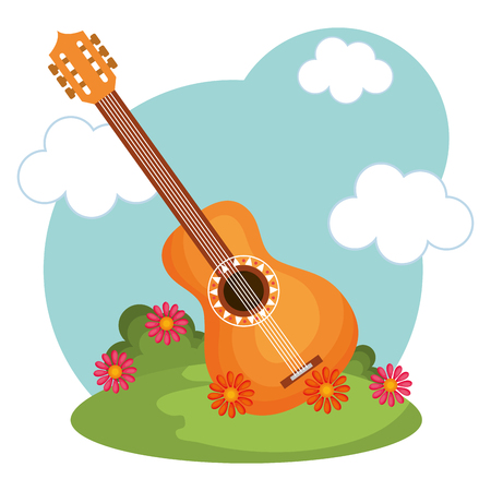 Guitar, flowers, green grass and blue sky over white background. Vector illustration. Illustration