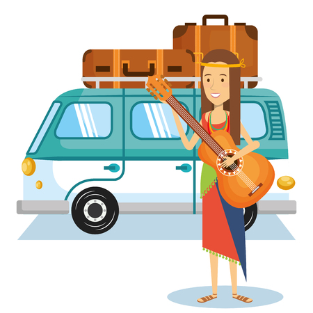 Hippie woman playing guitar with minivan an suitcases behind. Vector illustration. Illustration