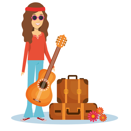 Hippie woman with guitar, suitcases and flowers over white background. Vector illustration. Illustration