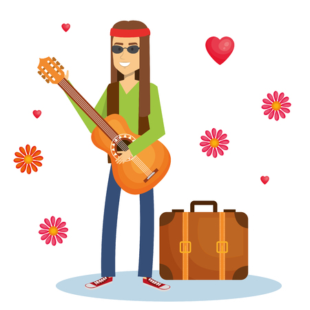 Hippie man playing guitar with flowers and hearts over white background. Vector illustration. Illustration