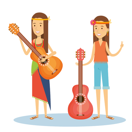 Hippie girls with guitars over white background. Vector illustration. Illustration