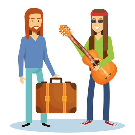 Hippie men with guitar and suitcase over white background. Vector illustration. Illustration