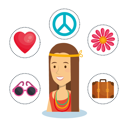 Hippie woman with related object stickers over white background. Vector illustration. Illustration