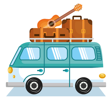 Minivan with suitcases and guitar over white backgroundVector illustration.