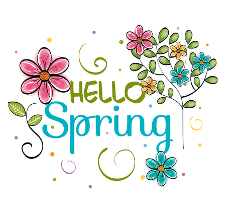 Hello spring card with pink, yellow and teal flowers over white background. Vector illustration.