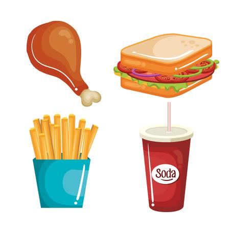 Fast food set over white background. Vector illustration. Illustration